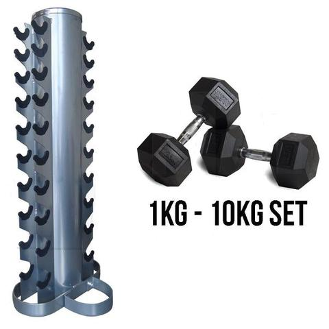 1-10KG Rubber Hex Dumbell Set with Stand