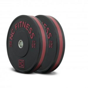 Black rubber gym bumper weight plates red