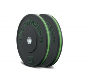 Black rubber gym bumper weight plates green