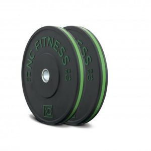 Black rubber gym bumper weight plates green