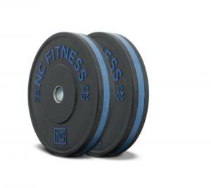 Black rubber gym bumper weight plates blue