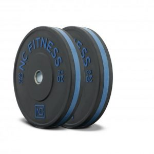 Black rubber gym bumper weight plates blue