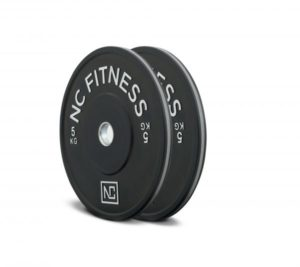Black rubber gym bumper weight plates grey