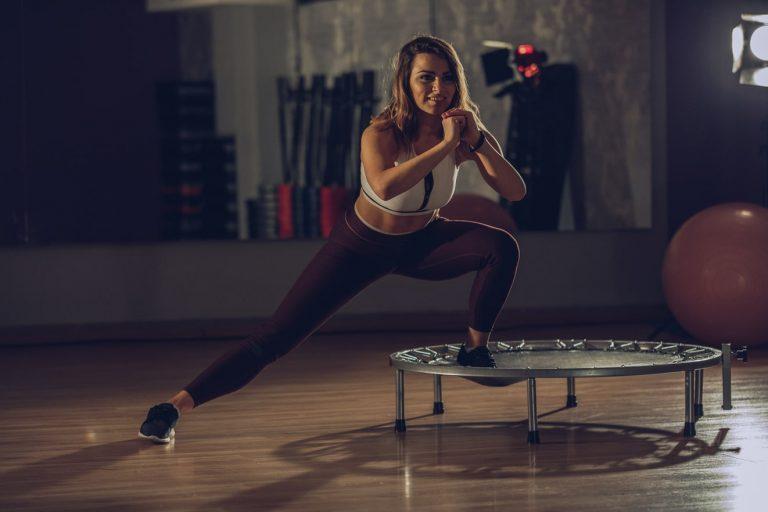 woman exercising on jumpsport trampoline